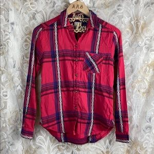 American Eagle Pink Flannel Plaid embroidered XS
